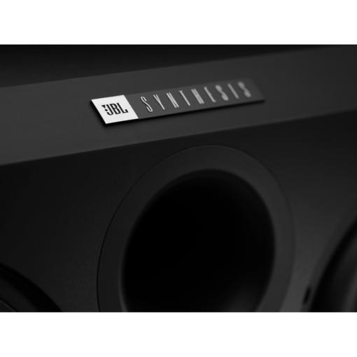 JBL Synthesis SSW-2 innfelt subwoofer front logo detalj